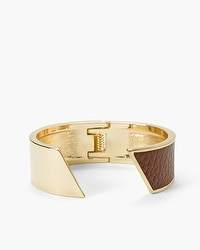 Leather Detail Open Cuff Bracelet