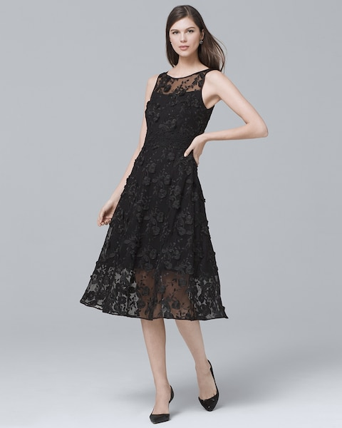 171ebfb68b2f Black Lace Fit-and-Flare Dress - White House Black Market
