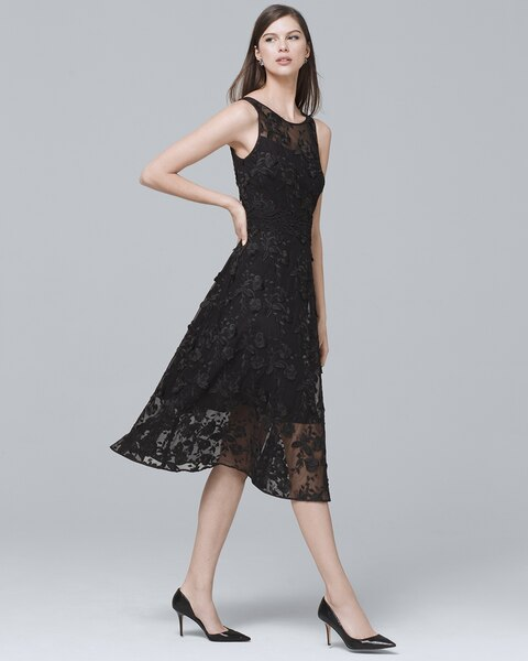Black Lace Fit And Flare Dress White House Black Market