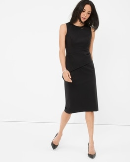 Asymmetrical Black Peplum Sheath Dress