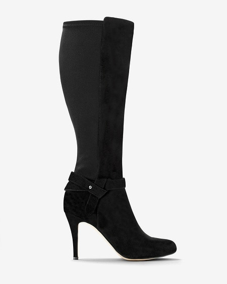 Suede 50/50 Stretch Heeled Boots