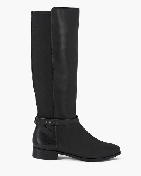 leather 50 50 stretch flat boots whbm