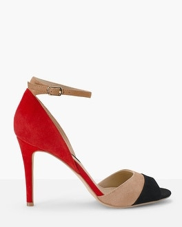 Suede Colorblock Heels