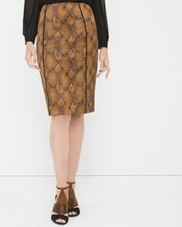 Snakeskin-Print Pencil Skirt