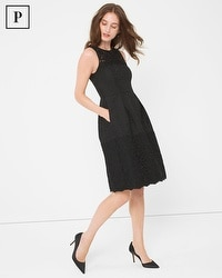 Petite Black Jaquard and Lace Dress