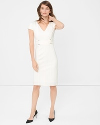 Buckle-Detail White Sheath Dress