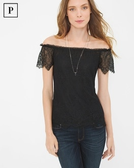 Petite Lace Off-The-Shoulder Top