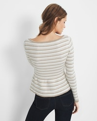Metallic-Stripe Peplum Sweater