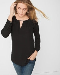 Lace Inset Cold Shoulder Blouse