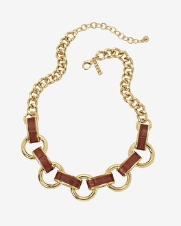 Burgundy Leather and Gold Link Necklace