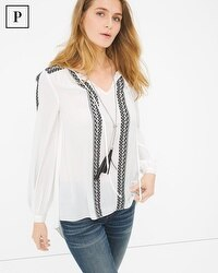 Petite Embroidered Peasant Blouse