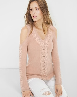 Braided-Detail Cold-Shoulder Sweater