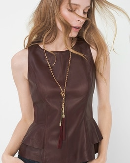 Burgundy and Gold Chain Lariat Necklace