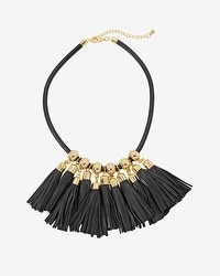 Leather Fringe Statement Necklace