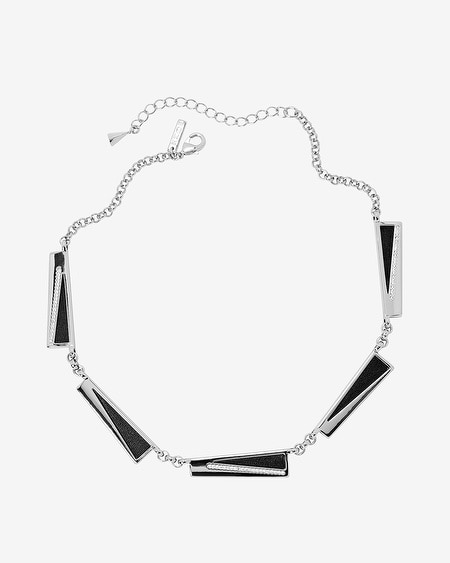 Leather Rectangles Short Necklace