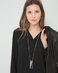 Rectangular Leather Long Pendant Necklace
