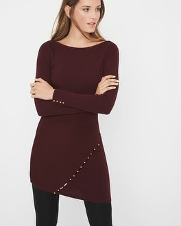Button-Detail Sweater Tunic