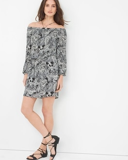 Cold-Shoulder Printed Blouson Dress
