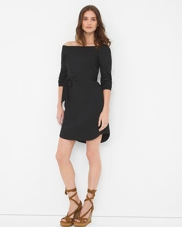 Off-The-Shoulder Poplin Dress