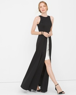 Sleeveless Colorblock Overlay Gown