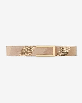 Embossed-Leather & Suede Belt