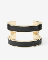 Croco-Embossed Black Leather Cuff