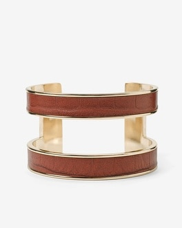 Croco-Embossed Leather Cuff