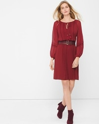 Sheer-Sleeve Boho Chiffon Dress