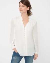 Sheer-Sleeve Woven Blouse