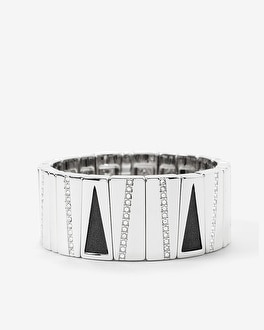 Black Leather Rectangle Stretch Bracelet