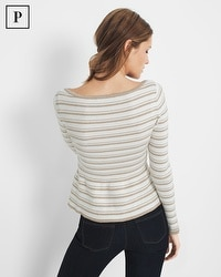 Petite Metallic-Stripe Peplum Sweater