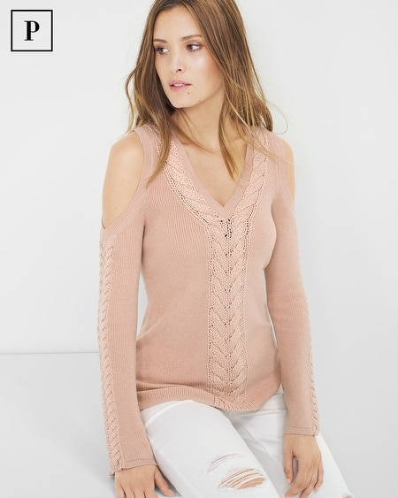 Petite Braided-Detail Cold-Shoulder Sweater