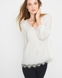 Lace-Trim Boho Blouse