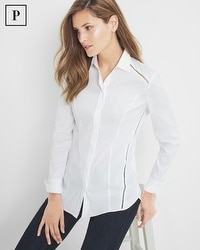 Petite Pleat-Back Poplin Shirt