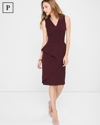 Petite Asymmetric-Peplum Sheath Dress