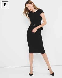 Petite Black Peplum Sheath Dress