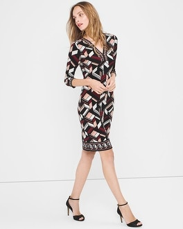 Three Quarter-Sleeve Printed Dress