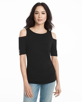 Elbow Sleeve Cold-Shoulder Top