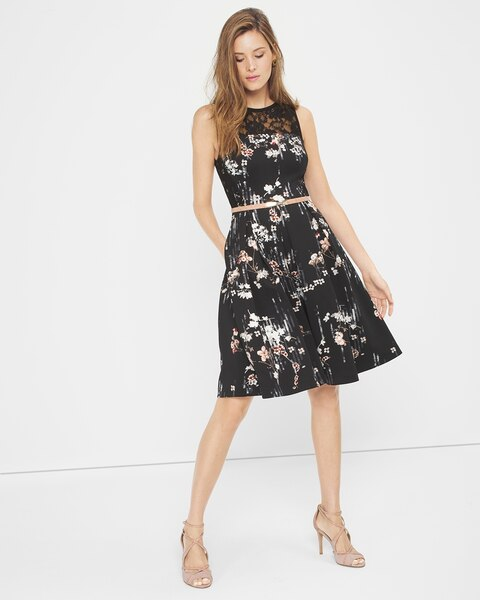 Floral-Print Fit-And-Flare Dress - WHBM