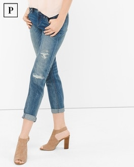 Petite Distressed Girlfriend Jeans
