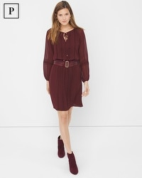 Petite Sheer-Sleeve Chiffon Dress