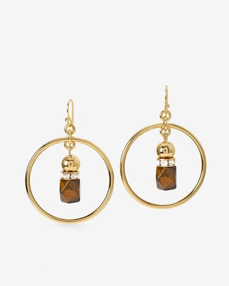Drop Hoop Earrings with Tiger's Eye
