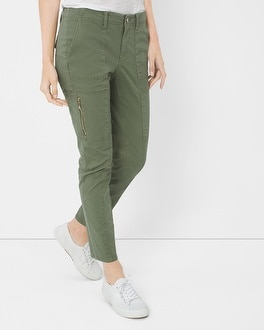 Slim Crop Pants with Utility Details