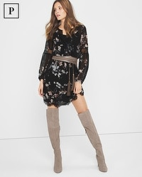 Petite Long-Sleeve Floral-Print Dress