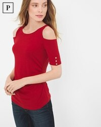 Petite Elbow Sleeve Cold-Shoulder Top