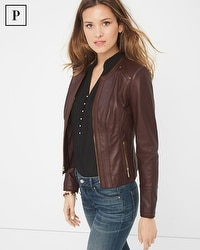 Petite Suede-Trim Leather Jacket