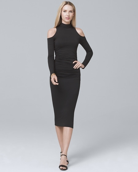 Cold-Shoulder Black Sheath Dress