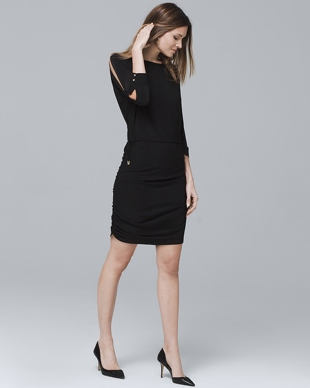 Dolman-Sleeve Black Blouson Dress