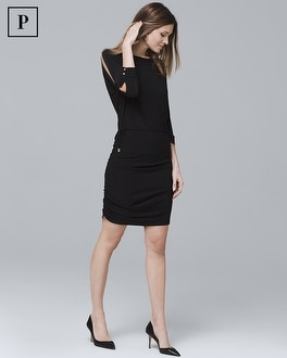 Petite Dolman-Sleeve Black Blouson Dress