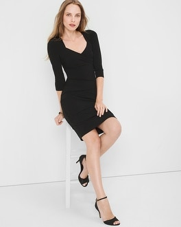 Three Quarter-Sleeve Black Instantly Slimming Dress